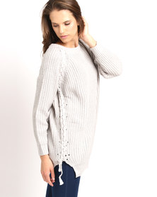 Utopia Jumper With Plait Detail Grey