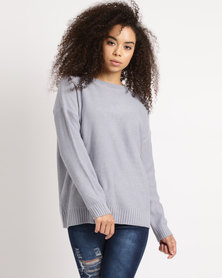 Utopia Slouchy Jumper With Lace Up Detail Grey