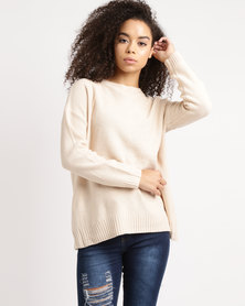 Utopia Slouchy Jumper With Lace Up Detail Blush