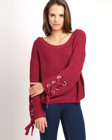Utopia Oversized Jumper With Sleeve Ties Red