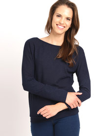 Utopia Slouchy Knit Top Navy