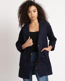 Utopia Melton Coat With Pockets Navy