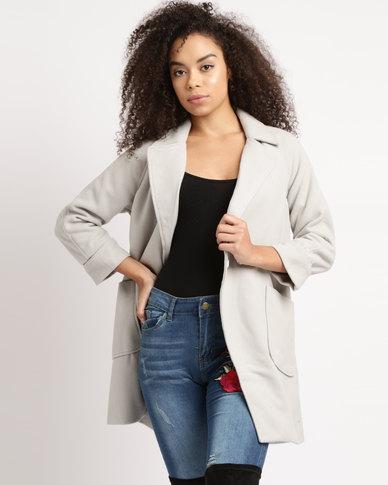 Utopia Melton Coat With Pockets Grey