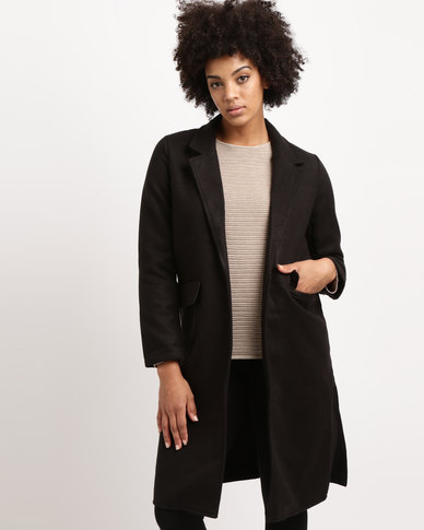 Utopia Melton Casual Coat Black