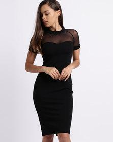 Utopia Mesh Inset Shift Dress Black