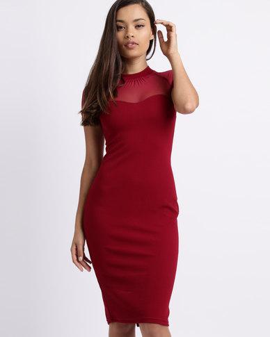 Utopia Mesh Inset Shift Dress Red