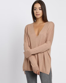 YAYA V-Neck Sweater Camel