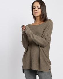 YAYA Basic Kimono Sweater Green