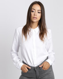 YAYA Cotton Twill Shirt White