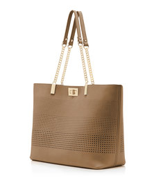 Forever New Mila Chain Handle Perf Tote Tan