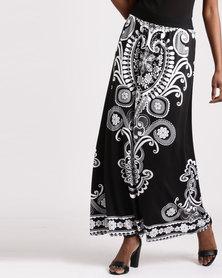 Queenspark Muriel Printed Maxi Knit Skirt Black/White