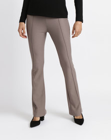 Queenspark Kickflare Knit Slacks Mocha