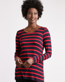 Queenspark Striped Long Sleeve Crew With Eyelet Detail Knit Red