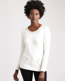 Queenspark Pearl And Zip Detail Knitwear Top Cream