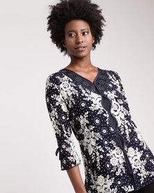 Queenspark Spot Flower Mesh Knit Top Navy