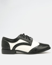 Madison Bristol  Lace Up Flat Black/White