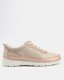 GIA Leather Textured Casual Lace Up Rose Gold