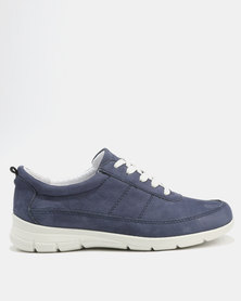 GIA Leather Textured Casual Lace Up Blue