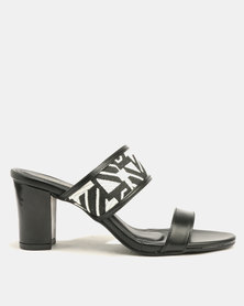 Marie Claire Ladies Printed Medium Heel Sandal Black