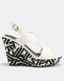 Marie Claire Ladies Printed Wedge Back Strap Sandal White