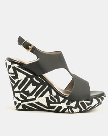 Marie Claire Ladies Printed Wedge Back Strap Sandal Black