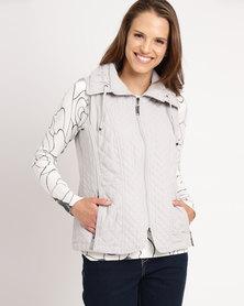 Queenspark Fancy Gilet Woven Jacket Silver