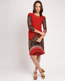 Queenspark Shield Design Cashmillion Dress Orange