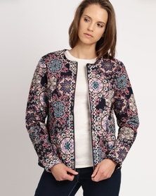 Queenspark Printed Zip Through Woven Jacket Multi