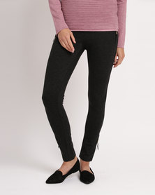 cath.nic By Queenspark Ponti Zip Detail Knit Trouser Charcoal