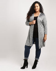 Queenspark Plus Joan Collins Coverup Knit Jacket Grey