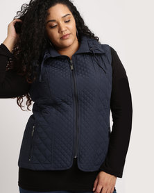 Queenspark Plus Fancy Gilet Woven Jacket Navy