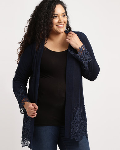 Queenspark Plus Lace Detail Glamour Knit Jacket Navy
