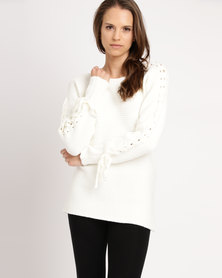 Miss Cassidy By Queenspark Lattice Boat Neck Knit Jersey Cream