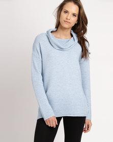 Miss Cassidy Ottoman Knit Poloneck Jersey Light Blue