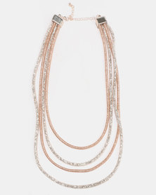 Queenspark Mesh Crystal 4 Row With Metal Clasp Necklace Pink