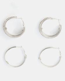 Queenspark 2 Pack Stunning Glitter Earrings Silver-tone