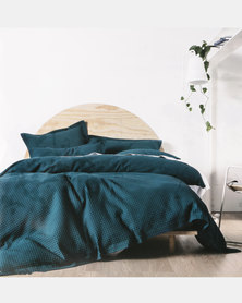 DISC Linen House Deluxe Waffle Duvet Cover Set Teal