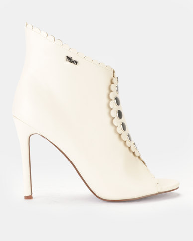 PLUM High Heel Ankle Boot Ivory