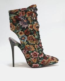 PLUM Printed High Heel Boots Black