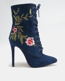 PLUM Delta Printed Heeled Boots Blue