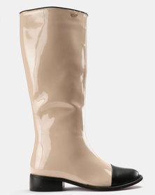 PLUM Patent Knee High Boots Nude/Black Patent