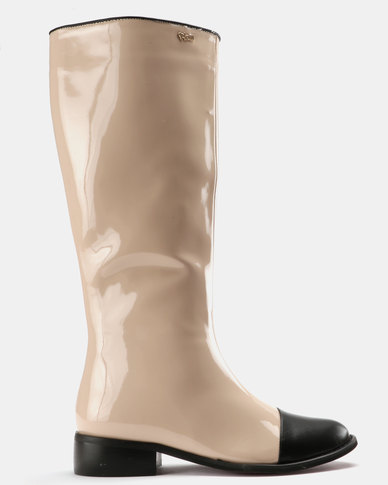 cheap from china PLUM PLUM Patent Knee High Boots Nude/Black Patent with credit card online cheap pay with paypal sale with mastercard low shipping online e3WCwfKz