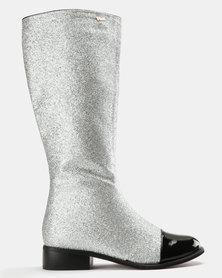 PLUM Patent Knee High Boots Silver Glitter