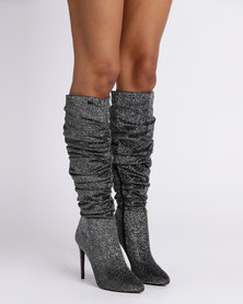 PLUM Knee High Ruffle Boots Pewter Lurex