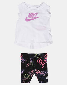 Nike NK Girls Nikes Sportsweat Tunic Fresh Print Capri Set Black