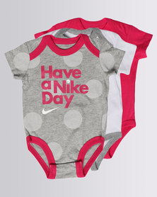 Nike NK Girls Nike 3 Piece Bodysuit Set Grey