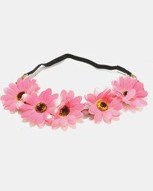 Jewels & Lace Floral Headband Dark Pink