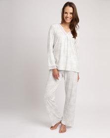 Poppy Divine Lace Trim Pyjama Set Ivory/Grey
