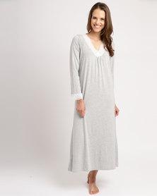 Poppy Divine Lace Trim Longer Length Sleepshirt Grey