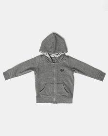 Parental Instinct Full Zip Hoody Grey Marl/Navy